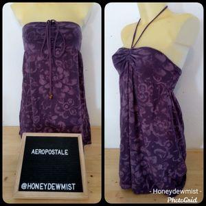 AEROPOSTALE Purple Floral Strapless/Halter Top